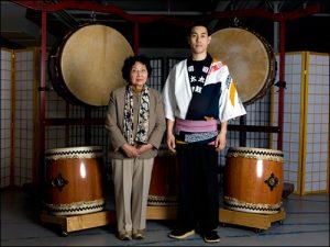 Founder of Tsukasa Taiko Hide Yoshihashi with Wakayagi Shiyu